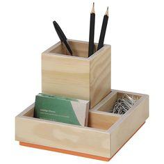 COLOR WOOD PORTA-LÁPIS/OBJETOS Popsicle Stick Crafts, Craft Stick Crafts, Wood Crafts, Diy And Crafts, Pen Holder Diy, Small Wood Box, Wooden Key Holder, Diy Cardboard, Desktop Organization