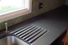 Drain board on cement countertop