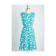 Mid-length Sleeveless A-line Pop Cuisine Dress by ModCloth (51 CAD) ❤ liked on Polyvore featuring dresses, apparel, blue, fashion dress, blue dress, pleated dress, dot dress, blue dot dress and pleated a line dress