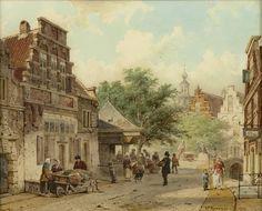 Cornelis Springer – Zomers straatje te Oudewater