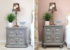 So a couple weeks ago I showed you guys some painted nightstands for my brother's guest bedroom. While I completely LOVED how they turned out with the Belle Craie paint and a dark glaze, I really wished they were a big more feminine. So to take the nightstands to new heights, I decided to add …