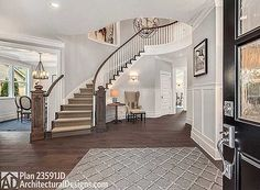 Stunning stair and rotunda in 5 Bed House Plan 23591JD. #readywhenyouare