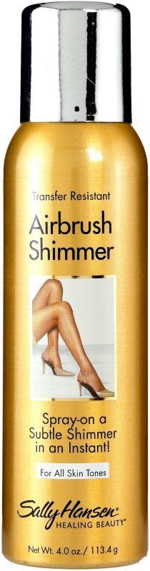 Get spray-on perfect legs in an instant and add a little shimmer with Salon Airbrush Legs Leg Makeup by Sally Hansen