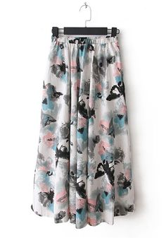 Multicolor Pockets Elastic High Waist Flax Skirt