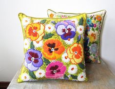 sale vintage crewel embroidery pillow / bright by RustBeltThreads
