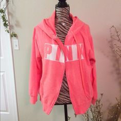 Victoria's Secret pink full zip hoodie Worn and washed but still good condition salmon pink (tomato pink) PINK Victoria's Secret Tops Sweatshirts & Hoodies