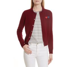 Women's Comme Des Garcons Play Double Heart Wool Cardigan ($332) ❤ liked on Polyvore featuring tops, cardigans, burgundy, comme des garcons top, wool top, red cardigan, cardigan top and wool cardigan