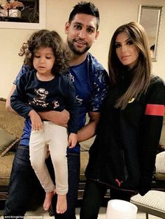 Family rift: Amir Khan, pictured with his wife Faryal Makhdoom Khan and their daughter Lam...
