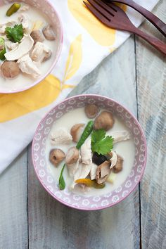 Tom Kha Gai is Thai coconut chicken soup. The BEST and EASIEST recipe to make authentic coconut chicken soup that is a zillion times better than takeout | rasamalaysia.com