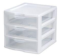 Mini Drawer Storage Cabinet Box Desk Tool Organizer Home Office Plastic Clear #STERILITE
