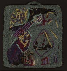 "Arte Brut | Juliette Elisa Bataille, ""Night setting"" (1948), wool and cotton embroidery on cardboard, 8 x 7 1/8 inches (photo by Ulrich Choffat, Atelier de numérisation, Ville de Lausanne, © Collection de l'Art Brut) (click to enlarge)"