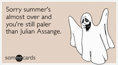 Free and Funny Seasonal Ecard: Sorry summer's almost over and you're still paler than Julian Assange. Create and send your own custom Seasonal ecard. Love Ecards, Dear World, Mexican Problems, I Love To Laugh, E Cards, Funny Cards, Way Of Life, How I Feel, Summer Fun