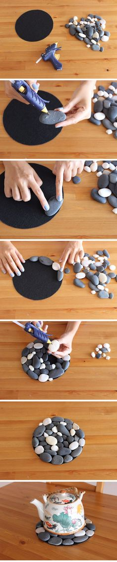 Pebble and Stone Crafts - Pebble Coasters - DIY Ideas Using Rocks, Stones and Pebble Art - Mosaics, Craft Projects, Home Decor, Furniture and DIY Gifts You Can Make On A Budget http://diyjoy.com/diy-pebble-stone-crafts