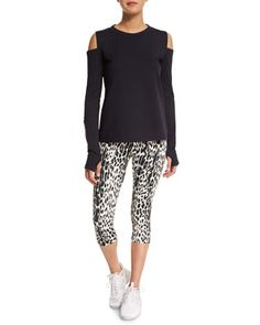 Rennie Cold-Shoulder Sport Sweater & Pico Crop Leopard-Print Sport Leggings by Varley at Neiman Marcus.