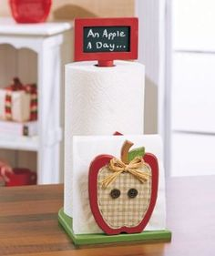 2 in 1 Paper Towel & Napkin Holder w/ Chalkboard Red Apple Fruit Orchard Country Spring Whimsical Wooden Kitchen Accent Counter Top Storage Organization Decor