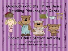 Free retelling cards for Goldilocks and the Three Bears This is a set of graphics and story cards that can be used at a retelling or pocket chart station or could be used whole group when reading the sto. Retelling Activities, Fairy Tale Activities, Literacy Games, Toddler Learning Activities, Rhyming Preschool, Preschool Crafts, Kindergarten Language Arts, Kindergarten Literacy, Head Start Classroom