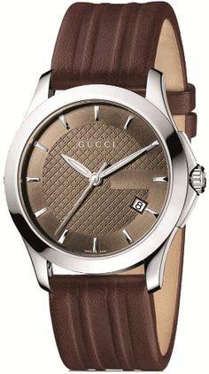 Gucci Men's YA126403 G-Timeless Medium Brown Dial Brown Leather Watch #Gucci #Mens #YA126403 #G-Timeless #Medium #Brown #Dial #Leather #Watch
