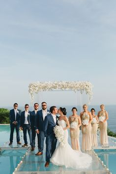 Real Destination Wedding in Bali Love these destination wedding outfits – the navy groomsmen suits and the long blush bridesmaid dresses are so cute! Destination Wedding Groomsmen, Wedding Suits, Wedding Attire, Wedding Bridesmaids, Trendy Wedding, Wedding Dresses, Destination Weddings, Wedding Ideas, Wedding Destinations