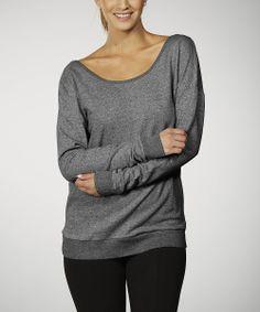 Charcoal Keyhole Scoop Neck Sweatshirt
