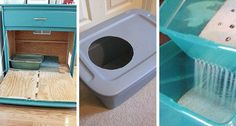 If you share your home with a feline you also share your home with a litter box. Here are some cleaner DIY litter box options!