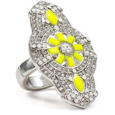 Aqua Yellow Deco Ring ($26) ❤ liked on Polyvore