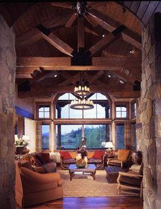Timberframe and log great room
