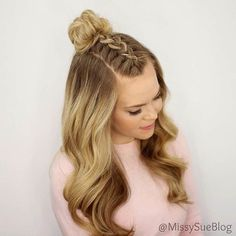 wedding hairstyles easy hairstyles hairstyles for school hairstyles diy hairstyles for round faces p Braided Top Knots, Braided Buns, Twisted Braid, Knotted Braid, Lace Braid, Braided Ponytail, Mohawk Braid, Braid Bun Updo, Updo Curls