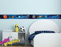 Solar System Planets, Stars removable wall border 2m (6.5 ft) long -babygraphics #babygraphics