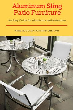 Aluminum Sling Patio Furniture-Comfortable Seating for Outdoor Settings Area Units, Aluminum Patio, Outdoor Settings, Sunlight, Terrace, Porch, Industrial, Stains, Table
