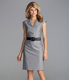 From the Antonio Melani Basics collection, the Joni women's dress is masterfully tailored to complement your figure. The cap sleeves and folded splitneck accent your shoulders and chest. The novelty belt cinches your waist.  contour seams  straight skirt  navy polyester/viscose/spandex  Only at Dillard's. Imported.