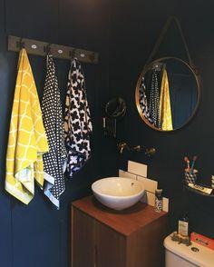 Hague blue bathroom midcentury vanity moroccan towels brass fittings