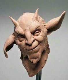 A little Mischeif - clay study Art Sculpture, Sculptures, Baphomet, Arte Horror, Creature Design, Fantasy Creatures, Dark Art, Aliens, Art Dolls