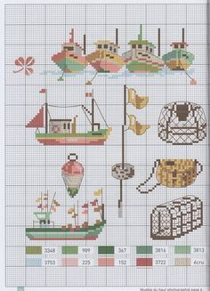 cross stitch nautical the sea boating shrimping fishing lobster cage