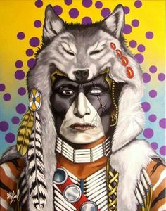 Wolf Voice by Riel Benn(award winning artist from the Birdtail Sioux First Nation,Southwestern Manitoba) Native American Face Paint, Native American Tattoos, Native American Paintings, Native American Pictures, Native American Artists, American Indian Art, Indian Paintings, Face Paintings, American Indians