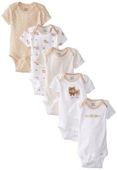 Gerber Unisex-Baby Newborn 5 Pack Neutral Variety Onesie, Bears, New Born