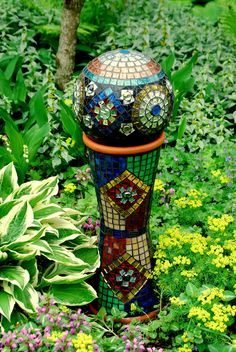 Stained Glass Mosaic Gazing Ball with Stand by NatureUnderGlass