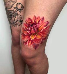 Dahlia Interesting flower for tattooingSponsors: Finger Tattoo – Fashion Tattoos Mom Tattoos, Cute Tattoos, Beautiful Tattoos, Body Art Tattoos, Sleeve Tattoos, Tatoos, Dahlia Flower Tattoos, Colorful Flower Tattoo, Flower Tattoo Designs