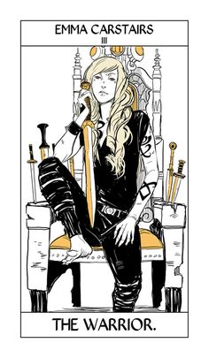More of Cassandra Jean's Shadowhunter Tarot! (I asked her to do the TDA characters first, so the cards aren't in order.) Emma, the Warrior, matches the Empress card. That's right, my baby, you look tough.  Julian is here.