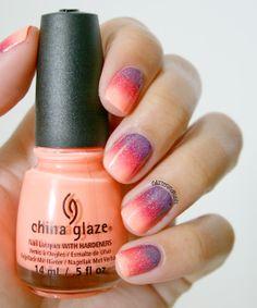 Sunset Gradient - China Glaze Sun of a Peach, Dutch'Ya Just Love OPI, High Hopes of CH