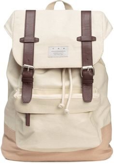 H&M - Canvas Backpack - Natural white - Men
