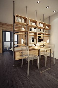 Bulkhead Partition Design Inspiration is a part of our furniture design inspiration series. Bulkhead Partition Design Inspiration is an inspirational series Shelving Design, Modern Shelving, Industrial Shelving, Industrial Furniture, Vintage Industrial, Industrial Design, Tiny Spaces, Small Apartments, Studio Apartments