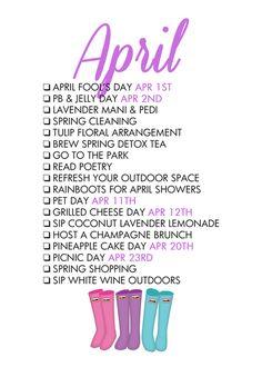 April Seasonal Living List