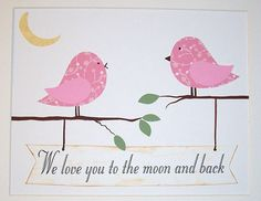 Love You to the moon and back, twin girls-Baby Room Art Decor Nursery Kids Art for Children by vtdesigns, $14.00