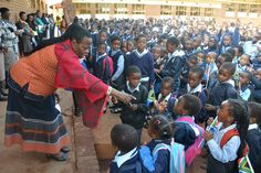 Deputy Minister Mabudafhasi interacting with learners during the flag hoisting in Vleinfontein Primary school National Flag, Primary School, Upper Elementary, Elementary Schools