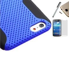 """For Apple 5.5"""" iPhone 6 Plus (AT&T T-Mobile Verizon Sprint Us Cellular Virgin Mobile Boost Mobile) Dual Layer Tuff Armor Impact Hybrid Soft Silicone Cover Hard Plastic Case + [WORLD ACC®] Brand LCD Screen Protector + Silver Stylus Pen + Black Dust Cap Free Gift (Mesh Blue / Black). For Apple 5.5"""" iPhone 6 Plus (AT&T T-Mobile Verizon Sprint Us Cellular Virgin Mobile Boost Mobile). Hard impact case cover that has layers of quality protection and provides extra protection to the back, side…"""