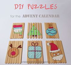 Advent Calendar Gifts: DIY puzzles with popsicle sticks # Kids Crafts, Craft Stick Crafts, Crafts For Teens, Diy For Kids, Diy And Crafts, Popsicle Stick Christmas Crafts, Popsicle Sticks, Christmas Countdown, Christmas Diy