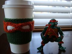 Teenage Mutant Ninja Turtles coffee cup cozy, knitted. Which turtle are you?