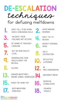 These effective de-escalation strategies help parents, or caregivers, defuse meltdowns & outbursts in children. These de-escalation strategies will. Behavior Management, Classroom Management, Anger Management Activities, Kids Behavior, Behavior Chart Toddler, Social Emotional Learning, Coping Skills, Social Skills Lessons, Raising Kids