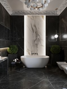🖤🖤 Luxury bathroom with classical architecture and contemporary design in Novosibersk, Russia 🖤🖤 designed by Anastasiia Romonova ♠️ We are currently custom making a smaller version of this Anna chandelier for one of our clients ♠️ Bathroom Layout, Small Bathroom, Master Bathroom, Master Baths, Black Marble Bathroom, Marble Bathrooms, Diy Bathroom Decor, Bathroom Ideas, Bathroom Design Luxury