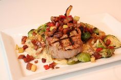 Last weekend, we served up bone in pork chop with apple pancetta slaw, roasted Brussels sprouts with caramelized onions, and bacon gouda mushroom risotto for $28. Restaurant Specials, Apple Pork Chops, Mushroom Risotto, Gouda, Brussels Sprouts, Caramelized Onions, Served Up, Mashed Potatoes, Bacon